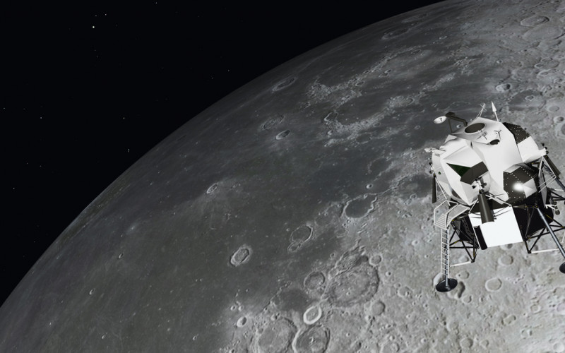 Lunar Module near the moon