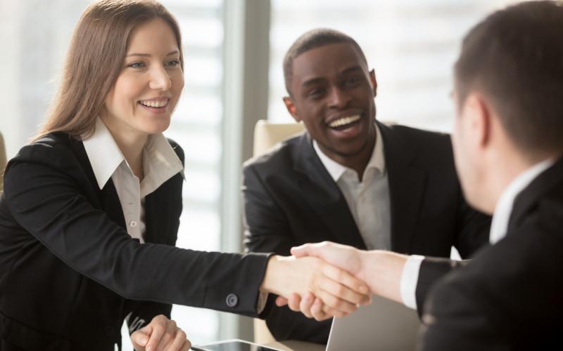 Handshake greeting a new customer