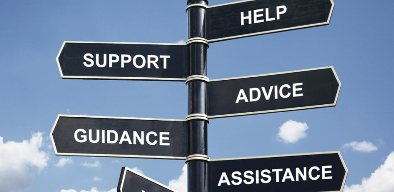 Help, support, advice, guidance, assistance and info crossroad signpost