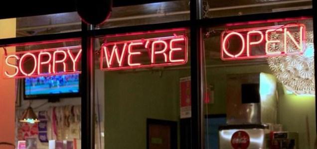 Sorry We're Open restaurant sign