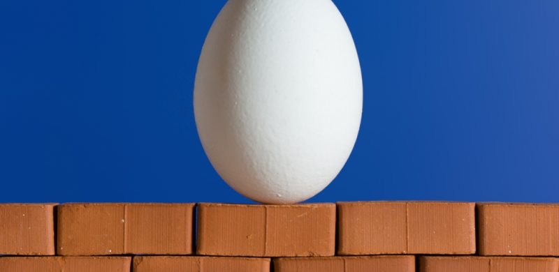 White egg on the red brick wall