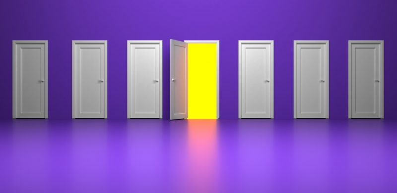 purple background with white doors